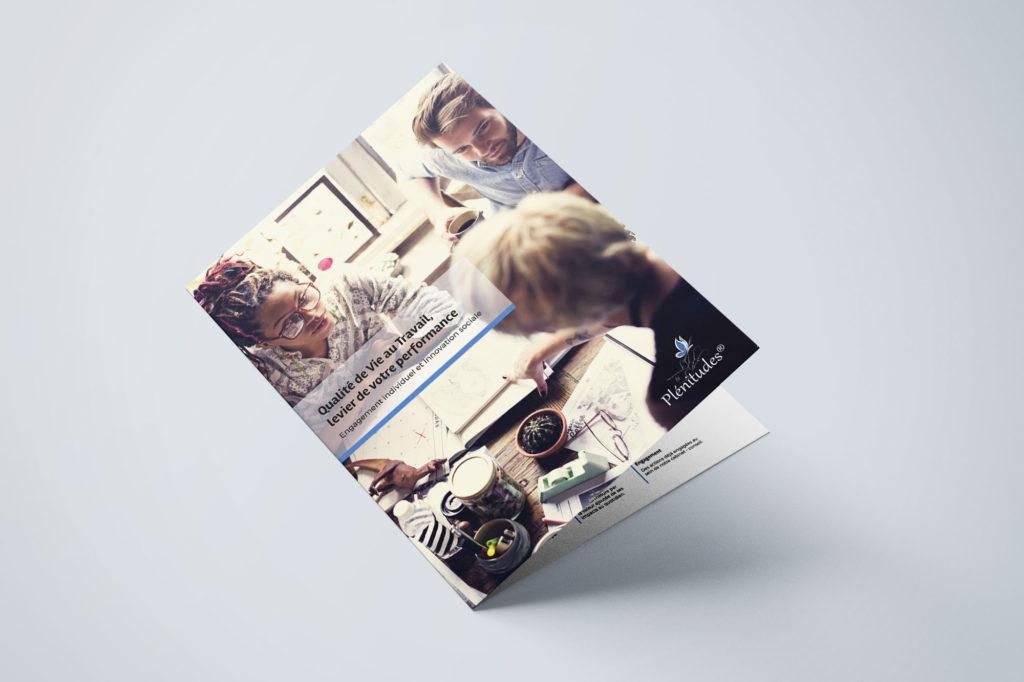Give You Wings, Studio graphique | Réalisation pour Plénitudes® d'une plaquette commerciale présentant l'offre de service sur la Qualité de Vie au Travail (1/3)